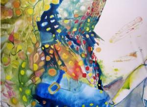 Chaussure bleu, 2007 Huile sur toile, 220cm x 160cm.