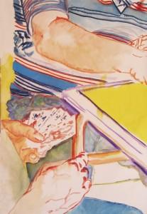 Joueurs de Belote III, été 2007 Huile sur toile, 100cm x 230cm.